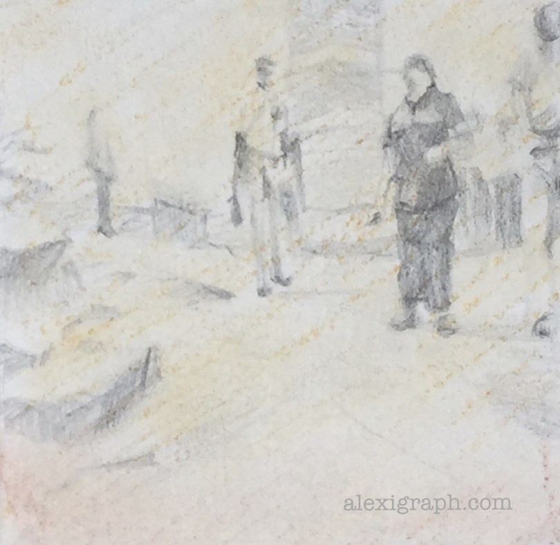 Pencil sketch of two people standing a few feet apart