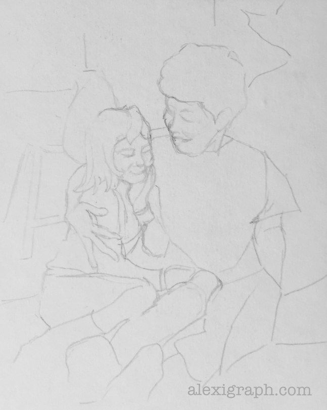 Line drawing of a mother embracing her young daughter