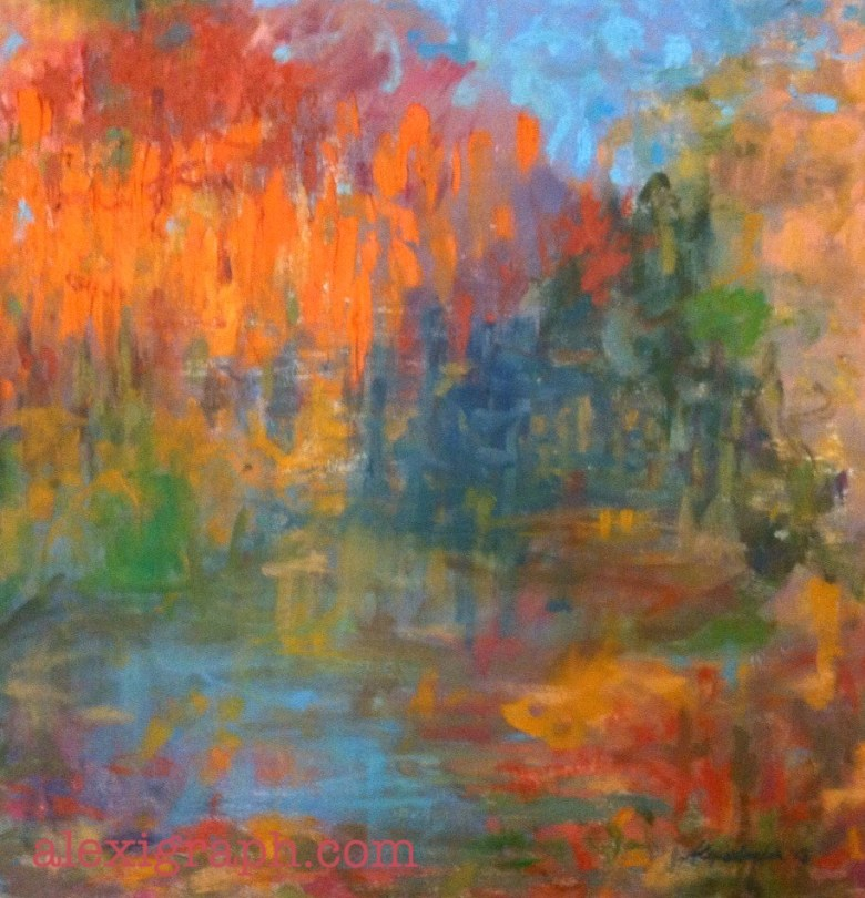 Abstract painting loosely resembling a fall landscape