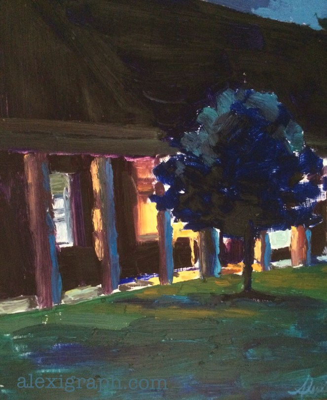 Nocturne painting of a tree and lighted windows
