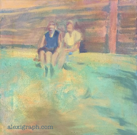 Painting of a couple sitting poolside