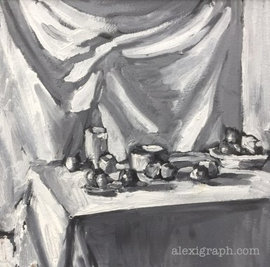 Black and white painting of dishes and fruit on a table