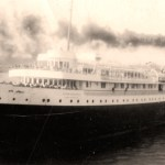 """Vintage Photo: back: """"The sister ship S.S. Noronic pulling out from dock at the Soo."""