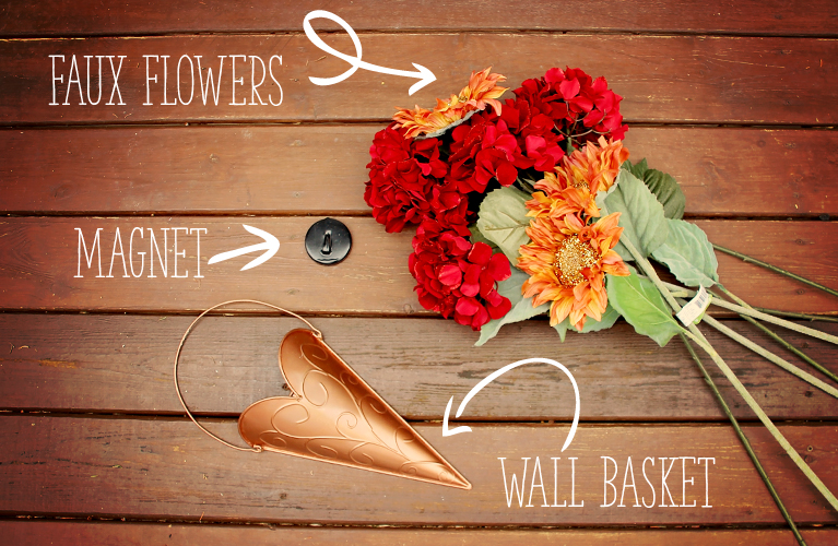 DIY door decor (Alex Inspired) What you need: A door magnet, faux florals and a hanging wall basket