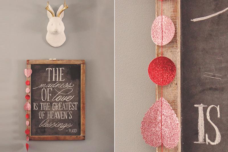 Handmade Valentine's Garland hung from Custom Chalkboard Art | Alex Inspired