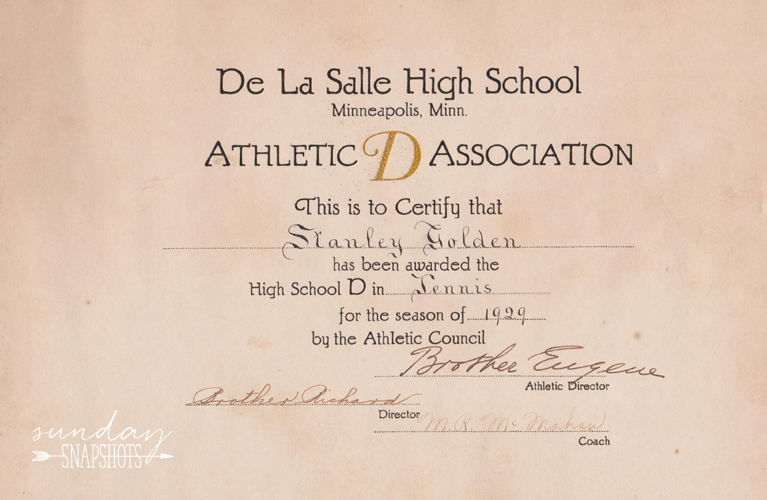 """DeLaSalle High School, Tennis certificate: """"Athletic D Assocoation"""" for Stanley Golden, 1929 from the Athletic Council, signed by Brother Eugene, Brother Richard and Director M.R. McMahan 