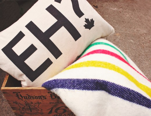 "Canada Day Essentials. ""Eh"" pillow, Hudson's Bay pointe blanket, Hudson's Bay vintage crate 