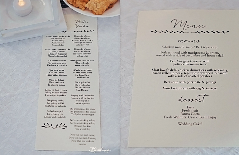 Paulina & Jordan - Custom Wedding Menus and Toast Cards