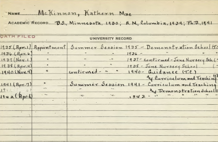 Kathern McKinnon Appointment card for Columbia University | Alex Inspired - It's Kathern not Catherine