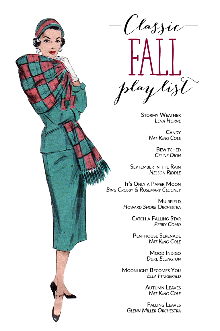 A Classic Fall Playlist, including - Bing Crosby, Nat King Cole, Lena Horne, Ella Fitzgerald and Perry Como | Alex Inspired