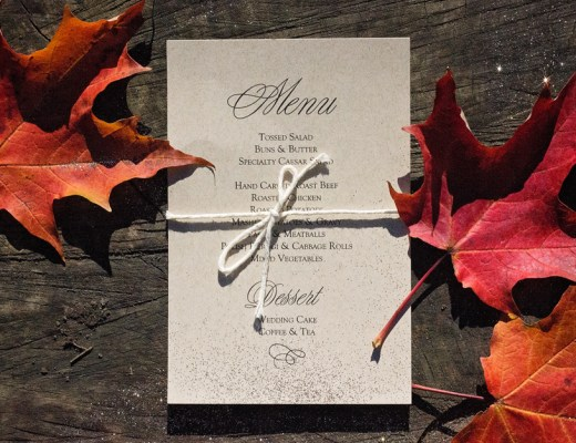 Chris + Trisha Wedding Details - custom menu on kraft paper for a classic autumn wedding | Alex Inspired