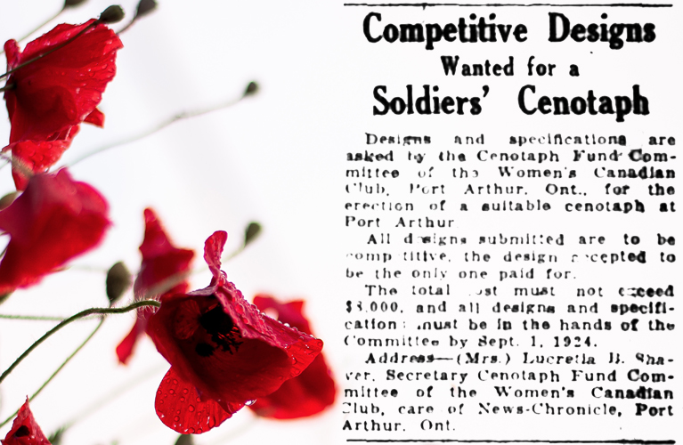 The Ottawa Journal ad for a Cenotaph Design from the Women's Canadian Club of Port Arthur   Alex Inspired