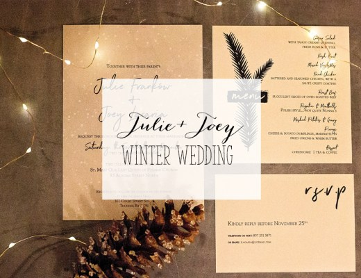 Custom Winter wedding Invitations and menus | Alex Inspired