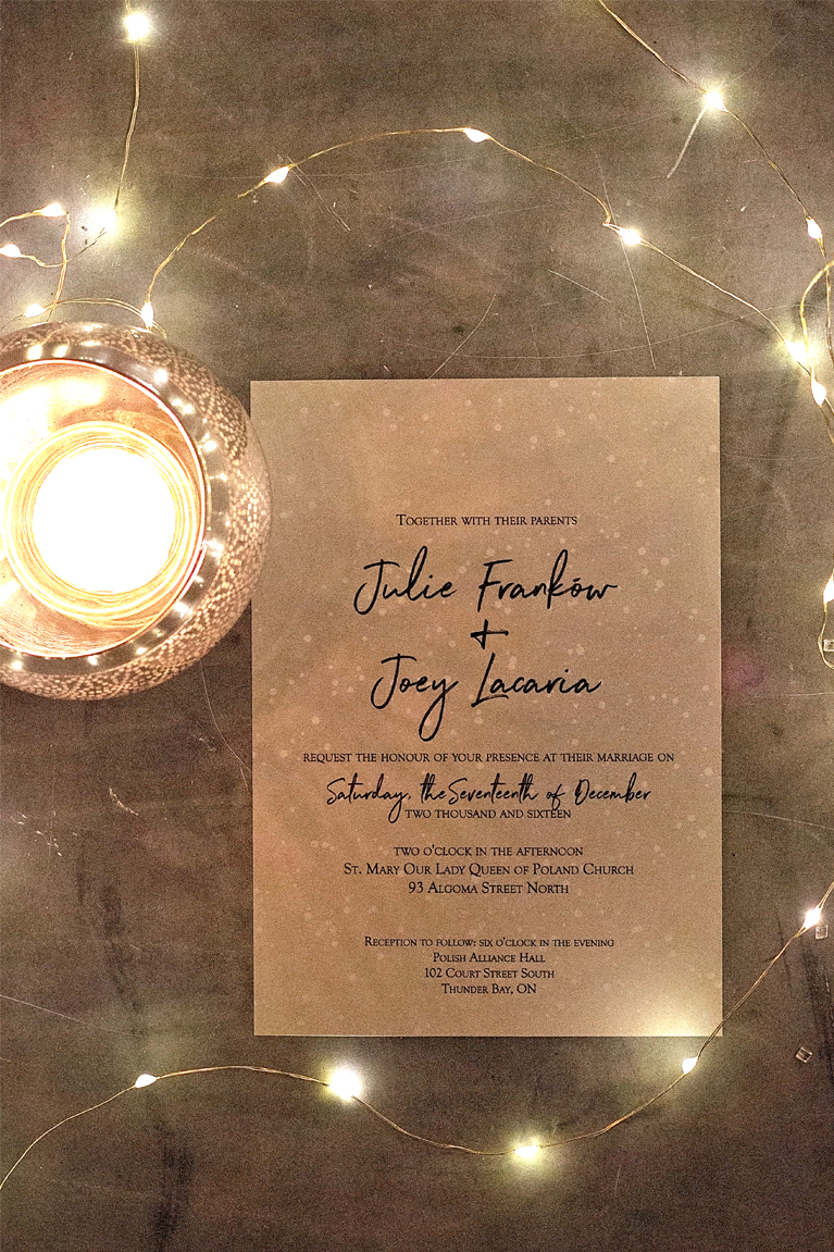 Julie + Joey - Winter Wedding- Custom Winter wedding Invitations and menus - Julie + Joey Winter Wedding | Alex Inspired