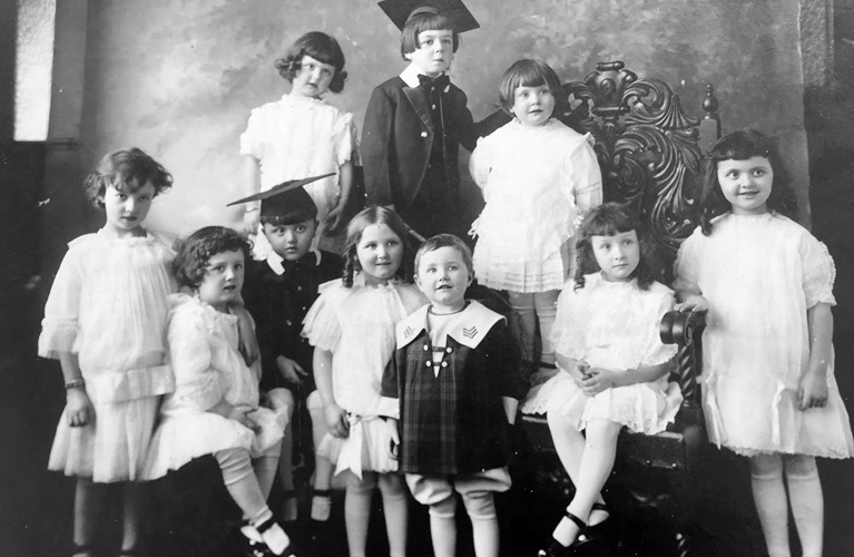 Children models for the 1914 Eaton's Fashion show in Winnipeg (Stanley Golden front and centre)   Alex Inspired