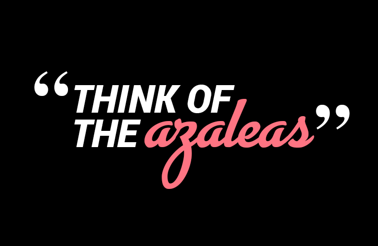 """""""Think of the Azaleas"""" 