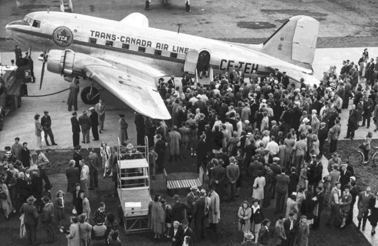 the launch of a new Trans-Canada Airlines (TCA) plane at what is now Thunder Bay International Airport on Canada Day, 1947.  VIA Thunder Bay Museum