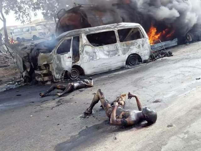 Graphic Photos: 25 Burnt To Death As Fuel Tanker And Passenger Bus Collide