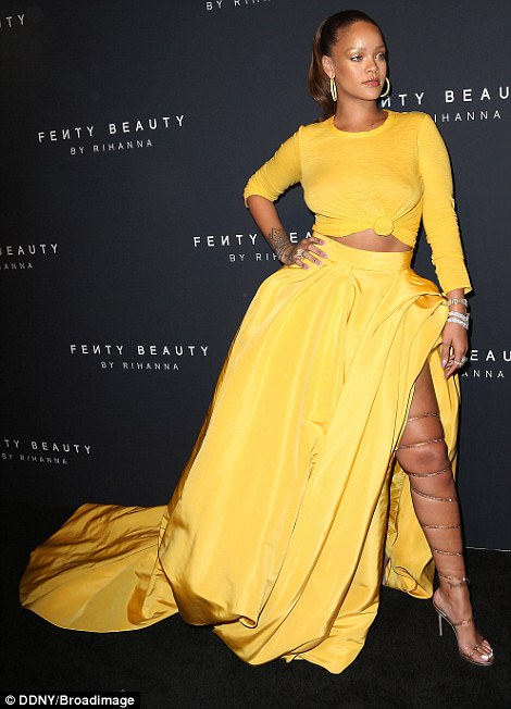 59b26afe24dac - Rihanna Slays in Yellow Crop Top & Sexy Skirt With Slit