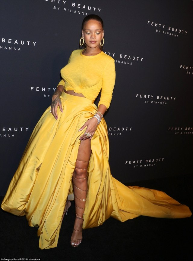 59b26b1deebd8 - Rihanna Slays in Yellow Crop Top & Sexy Skirt With Slit