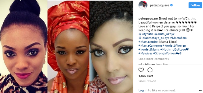 Peter Okoye celebrates his wife Lola Omotayo and sisters-inlaw on IG, thanks them for keeping it real
