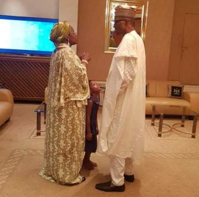 Aisha Buhari and her grand daughter welcome President Buhari back from Borno