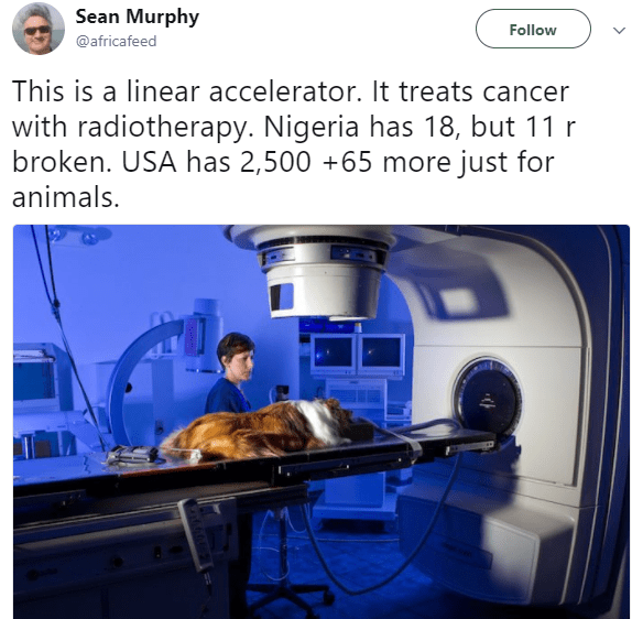 """A dog with lymphoma in Miami has a better chance of getting treatment than a woman with a brain tumor in Lagos. Shame!""- white man blasts our health system"