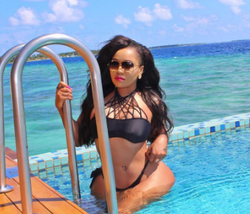 Vera Sidika flaunts her curvy derriere as she vacations on an Island in the Maldives