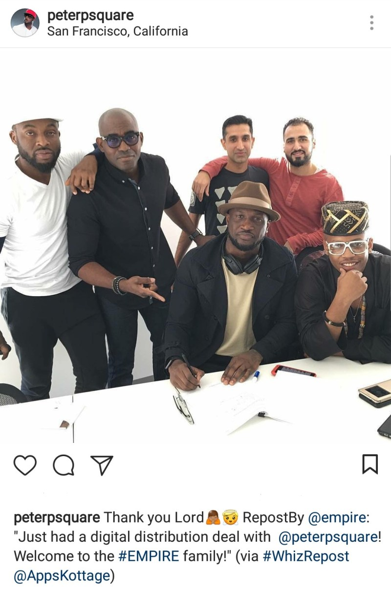 Peter Okoye signs major distribution deal with U.S record label, Empire