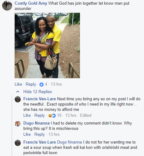 Ex-husband of relationship expert, Amara Blessing Nwosu shades her on social media, says he is in need of a very rich woman