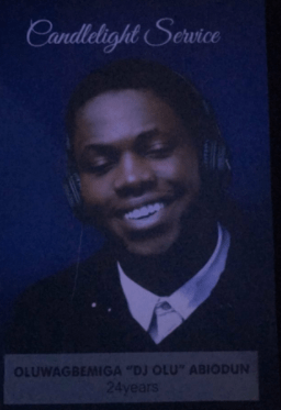 Photos from the candlelight service of DJ Olu