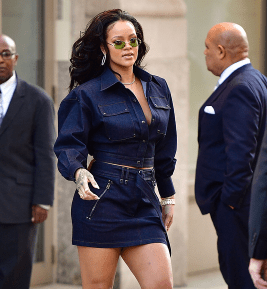 Rihanna flaunts her cleavage and legs in head-to-toe denim (photos)