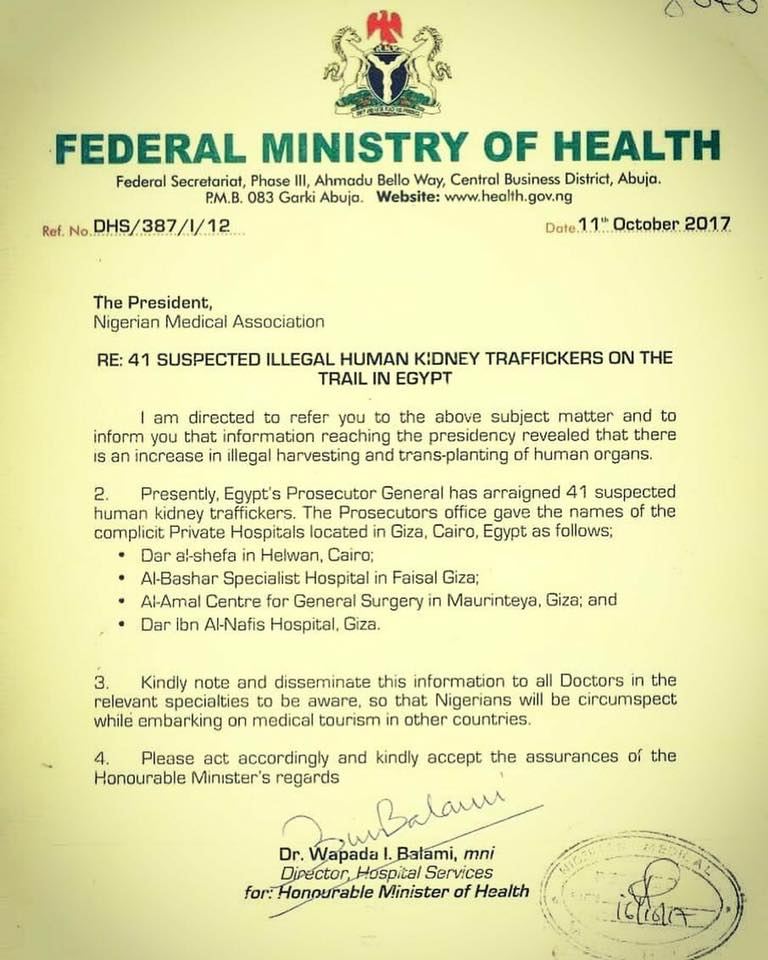 FG raises alarm over increasing rate of kidney trafficking currently happening in Egypt