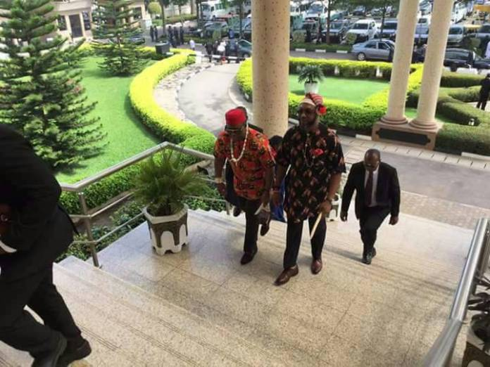 Photos: Femi Fani-Kayode pictured wearing Igbo traditional attire as he arrives Federal High Court in Abuja today