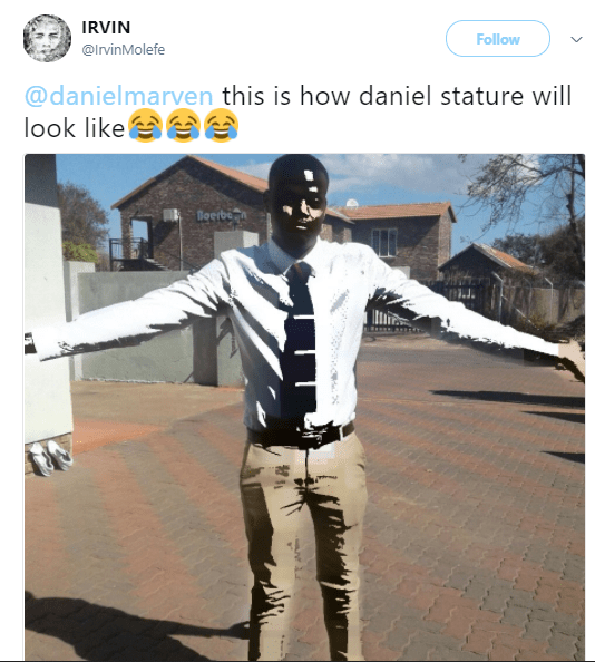 South African man makes fun of Nigerians after Governor Okorocha erected statue of their president and Nigerians fire back