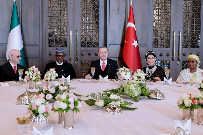 Photos: President Buhari, wife Aisha and daughter Hanan meet Turkish president and his wife