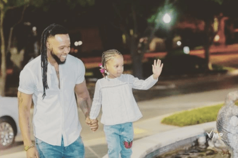 Cute family photo of singer Flavour, his babymama Sandra and their daughter Gabrielle