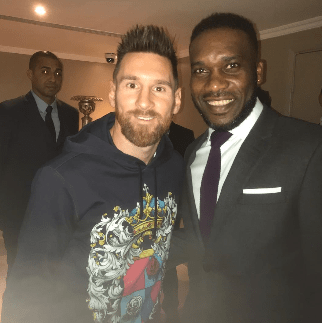 Two legends! Lionel Messi and JJ Okocha pose together
