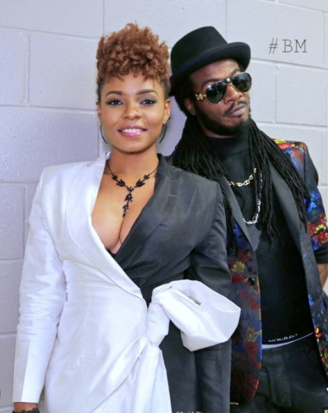 Yemi Alade stuns in monochrome dress as she poses next to Jamaican dancehall star, Gyptian