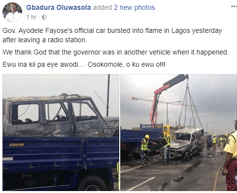 Photos: Governor Fayose survives fatal accident as his G-Wagon goes up in flames in Lagos