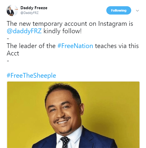 OAP Freeze opens new Instagram account after he was hacked