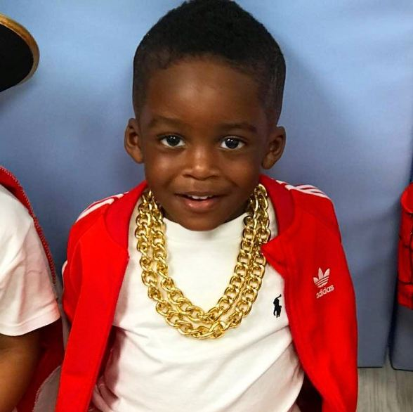 Tiwa Savage shares adorable photos of her son, Jamil wearing gold chains