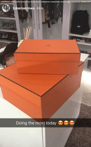Toke Makinwa flaunts new Hermes Birkin bag she got for her 33rd birthday today....(photos)