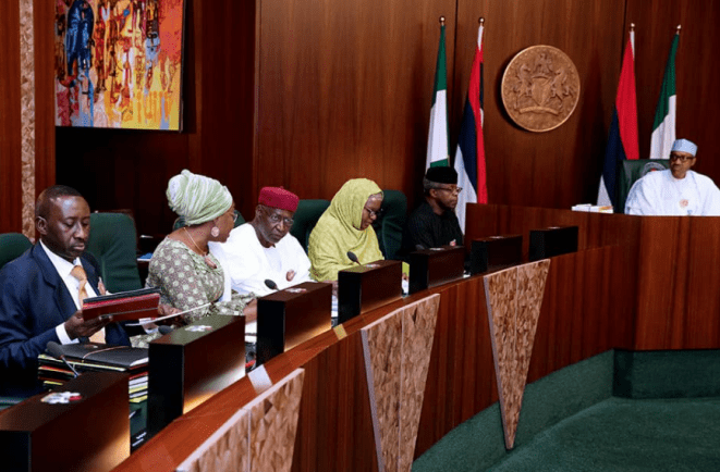 5a02fe0eb1bdd - Head of Service, Winifred Oyo-Ita all smiles with Chief of Staff to the President, Abba Kyari at FEC Meeting today (photos)