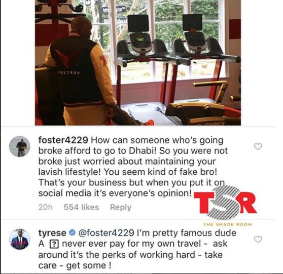 Between Tyrese Gibson and a fan who questioned his plan to move to Abu Dhabi despite declaring he