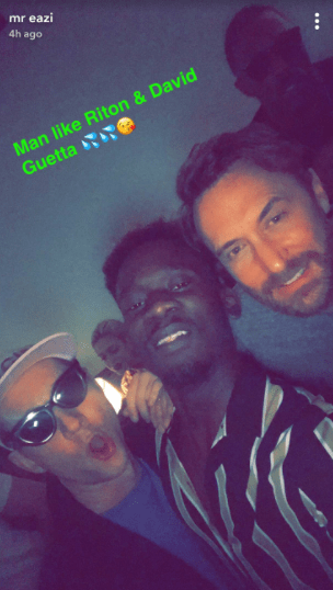 Mr Eazi parties with Rita Ora and David Guetta in London (photos)