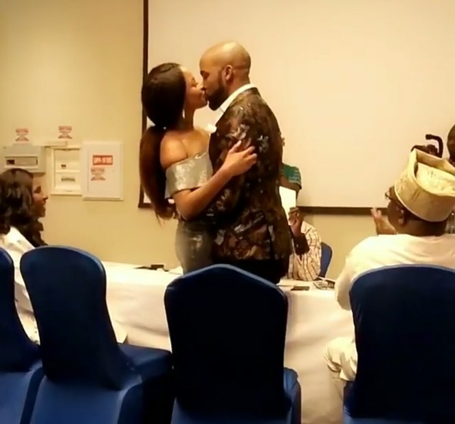 5a12d633d2d6b - Video: BankyW and Adesua Etomi kiss passionately after their civil ceremony in Lagos today