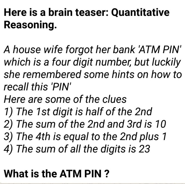 Wetin Be The ATM Pin?