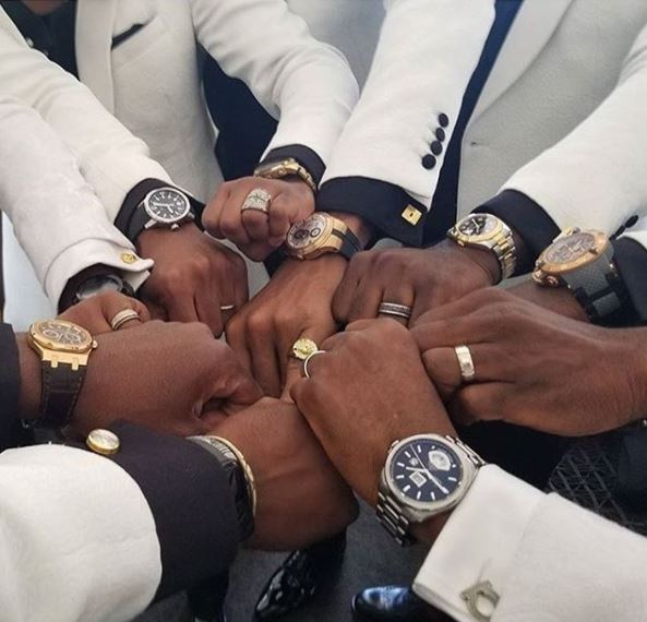 BAAD2017: The tension continues! BankyW & his groomsmen show off their wristwatches