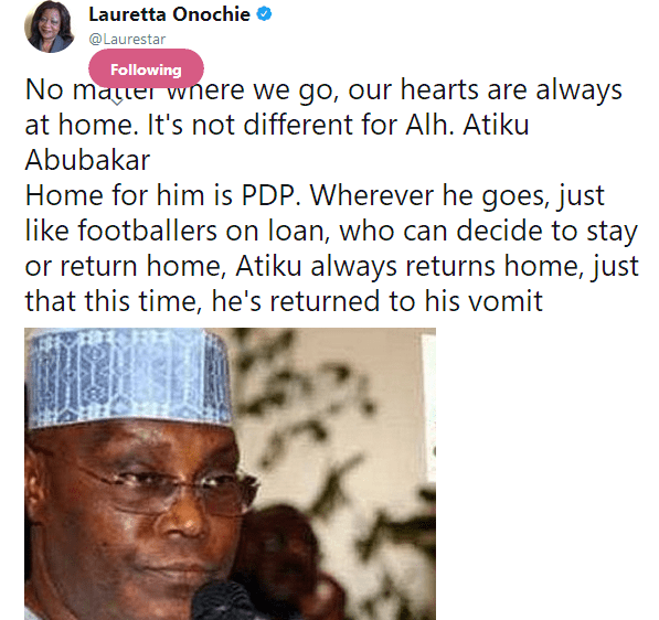 After Atiku Abubakar Resign From APC Lauretta Onochie Lash Am